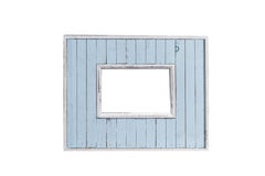 blank picture blue frame template isolated on wall Royalty Free Stock Photos