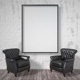 Blank picture frame with black armchairs. Mock up poster. 3D render. Illustration Royalty Free Stock Photography