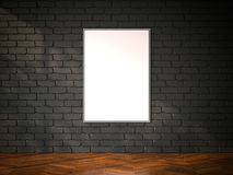 Blank picture frame on the black brickwall. 3d rendering Royalty Free Stock Photos