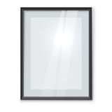 Blank picture frame with black rim. Hanging on the wall vector template.  Framed photo mockup with copy space Stock Image