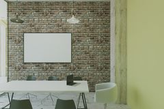 Blank picture frame on brick wall. Blank white puicture frame on brick wall in modern eco loft conference room. 3D render Royalty Free Stock Image