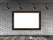 Blank picture frame on the brick wall Royalty Free Stock Image