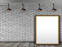 Blank picture frame on the brick wall Stock Photos