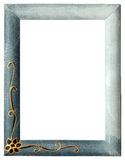 Blank picture frame isolated on white. Blank blue painted picture frame isolated on white Royalty Free Stock Photos