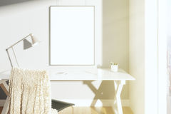 Free Blank Picture Frame On The Wall In Sunny Room With Lamp On The T Royalty Free Stock Photos - 61681128