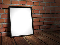 Blank picture frame on red brick wall. 3d render illustration Royalty Free Stock Photography
