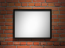 Blank picture frame on red brick wall. 3d render illustration Stock Image
