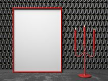 Blank picture frame and red candlestick on black triangulated ba. Ckground. Mock up render illustration Stock Photos