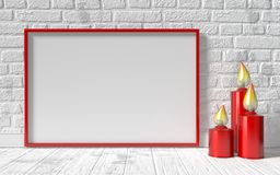 Blank picture frame and red candlestick on white brick wall. Moc. K up 3D rendering  illustration Stock Image