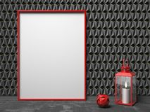 Blank picture frame and red lantern on black triangulated backgr. Ound. Mock up render illustration Royalty Free Stock Images