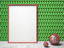 Blank picture frame and red sphere decor on green triangulated b. Ackground. Mock up render illustration Stock Photos