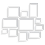Blank picture frame template set isolated on wall. Photo art gallery Royalty Free Stock Image