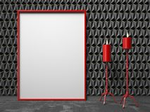 Blank picture frame and two red candlestick on black triangulate Stock Photos