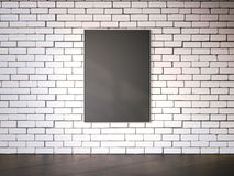 Blank picture frame on the white brickwall. 3d rendering Stock Images