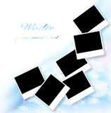 Blank picture frames border. Blank picture frames, abstract snowflake decorative border, beautiful blue ornamental design with white text space, many empty photo Royalty Free Stock Photos