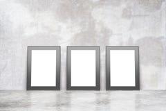 Blank picture frames on concrete floor in empty loft room vector illustration