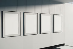 Blank picture frames. On concrete wall background. Mock up, 3D Rendering Stock Photography