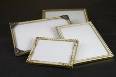 Blank picture frames, gold Royalty Free Stock Photos