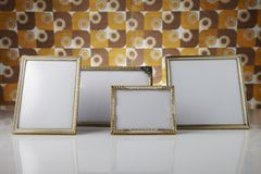 Blank picture frames, gold Stock Photos
