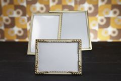 Blank picture frames, gold Royalty Free Stock Photography