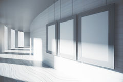 Blank picture frames in interior. Blank picture frames in corridor interior with sunlight. Mock up, 3D Rendering Stock Photography