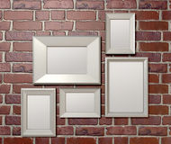 Blank Picture Frames On A Wall Front Royalty Free Stock Photos