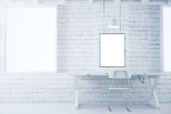 Blank picture frames on white brick wall in white style room wit Stock Photos