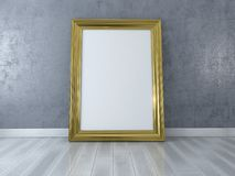 Blank picture with gold frame standing on floor. Design Template for Mock Up Stock Photo