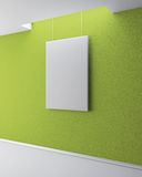 The blank picture on the green plastered wall. Gallery interior Royalty Free Stock Image