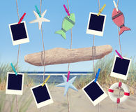 Blank Pictures and Objects Hanging by the Beach Stock Image