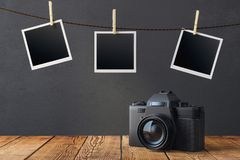 Blank pictures and photo camera Royalty Free Stock Photo