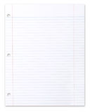 Blank Piece of School Lined Paper on White