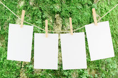 Blank pieces of paper and wooden clothespins Royalty Free Stock Image