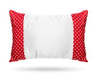Blank pillow isolated on white background. Red cushion in polka dots pattern concept. Clipping paths object. Blank pillow isolated on white background. Red stock photos