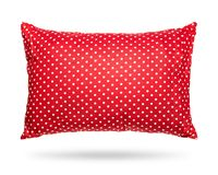 Blank pillow isolated on white background. Red cushion in polka dots pattern concept. Clipping paths object. Blank pillow isolated on white background. Red royalty free stock photography