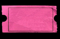 Blank pink admission ticket. Stock Image