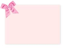 Blank pink gift tag with a bow Stock Photography