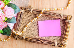 Blank pink note and flower Stock Photo