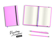 Blank pink open and closed copybook template with elastic band and bookmark. Realistic stationery blank pink pen and pencil. Stock Images