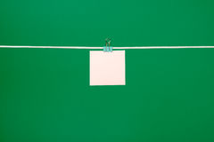 Blank pink paper note on clothesline Stock Photos