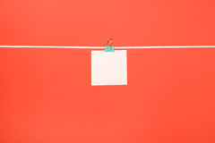 Blank pink paper note on clothesline Stock Image