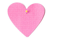 Blank pink post it note. Sticky post it note with a yellow pin Stock Images