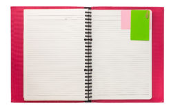 Blank pink spiral notebook isolated on white Royalty Free Stock Images