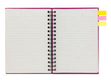 Blank pink spiral notebook with note paper isolated on white Royalty Free Stock Photos
