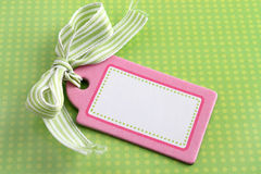 Blank pink tag on green Royalty Free Stock Photo