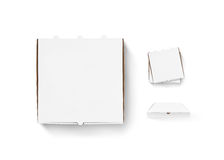 Blank pizza box design mock up set isolated. Carton packaging pi Royalty Free Stock Photo