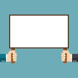 Blank placard. In hands of male, holding blank banner. Vector image for your text message or design. Flat style Royalty Free Stock Photography