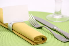 Blank place card. On napkin ring Royalty Free Stock Image