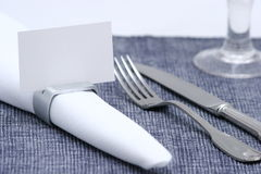 Blank place card. Blank placed card on napkin ring,table set up Royalty Free Stock Photography