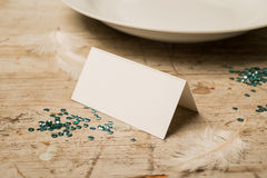 Blank Place Card by DInner Plate and Green Sequins Stock Photography